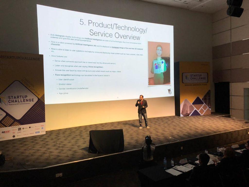 Homam Alghorani founder of Wonderland Technologies Sdn Bhd presenting at NTT startup challenge final round
